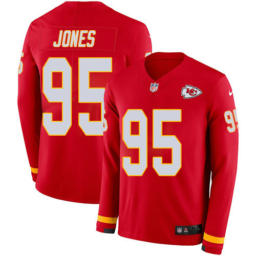 Nike Chiefs 95 Chris Jones Red Team Color Men's Stitched NFL Limited Therma Long Sleeve Jersey