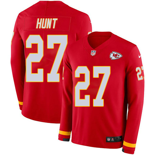 Nike Chiefs 27 Kareem Hunt Red Team Color Men's Stitched NFL Limited Therma Long Sleeve Jersey