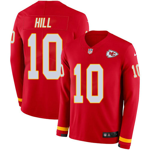 Nike Chiefs 10 Tyreek Hill Red Team Color Men's Stitched NFL Limited Therma Long Sleeve Jersey