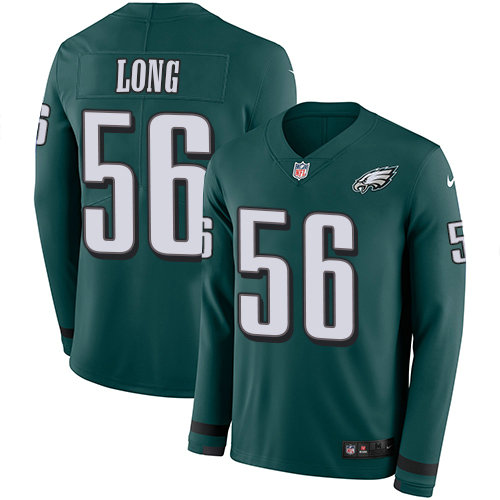 Nike Eagles 56 Chris Long Midnight Green Team Color Men's Stitched NFL Limited Therma Long Sleeve Jersey