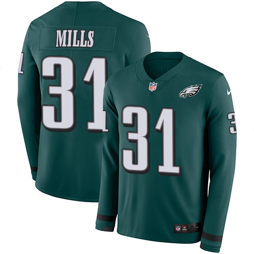 Nike Eagles 31 Jalen Mills Midnight Green Team Color Men's Stitched NFL Limited Therma Long Sleeve Jersey