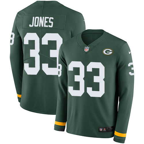 Nike Packers 33 Aaron Jones Green Team Color Men's Stitched NFL Limited Therma Long Sleeve Jersey