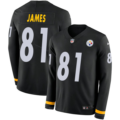 Nike Steelers 81 Jesse James Black Team Color Men's Stitched NFL Limited Therma Long Sleeve Jersey