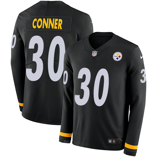 Nike Steelers 30 James Conner Black Team Color Men's Stitched NFL Limited Therma Long Sleeve Jersey