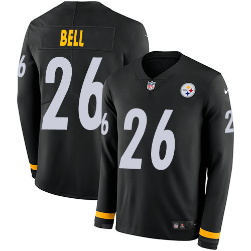 Nike Steelers 26 Le'Veon Bell Black Team Color Men's Stitched NFL Limited Therma Long Sleeve Jersey