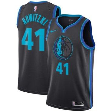Nike Dallas Mavericks #41 Dirk Nowitzki Black 2018-19 NBA Swingman City Edition Jersey
