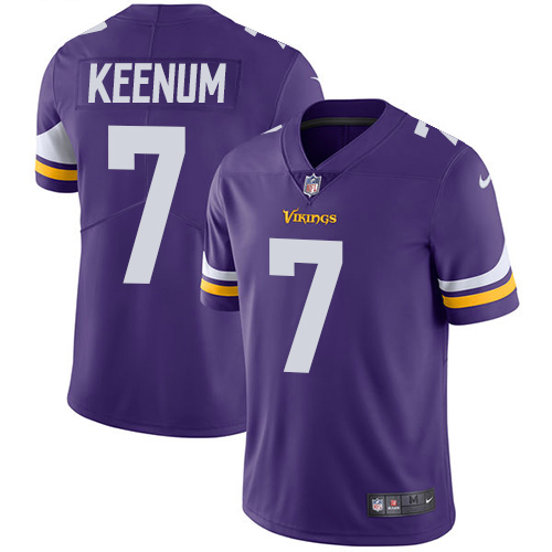 Men's Nike Minnesota Vikings #7 Case Keenum Purple Team Color Vapor Untouchable Limited Player NFL Jersey