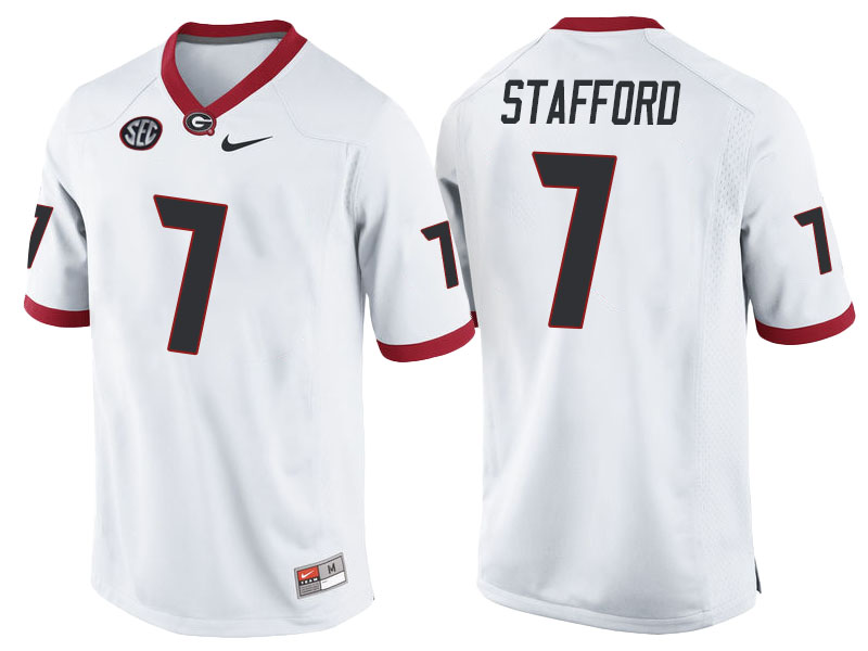 NCAA Georgia Bulldogs #7 Matthew Stafford White College Football Jersey