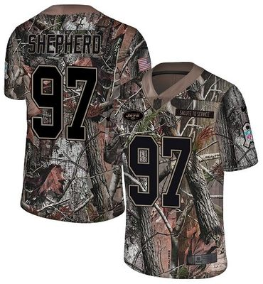 Nike Jets #97 Nathan Shepherd Camo Men\'s Stitched NFL Limited Rush Realtree Jersey