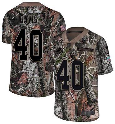 Nike Lions #40 Jarrad Davis Camo Men\'s Stitched NFL Limited Rush Realtree Jersey