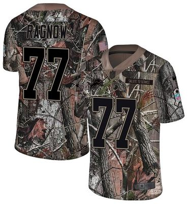 Nike Lions #77 Frank Ragnow Camo Men\'s Stitched NFL Limited Rush Realtree Jersey