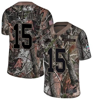 Nike Lions #15 Golden Tate III Camo Men\'s Stitched NFL Limited Rush Realtree Jersey