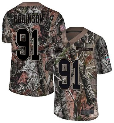 Nike Lions #91 A\'Shawn Robinson Camo Men\'s Stitched NFL Limited Rush Realtree Jersey