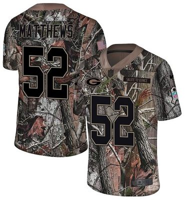 Nike Packers #52 Clay Matthews Camo Men\'s Stitched NFL Limited Rush Realtree Jersey