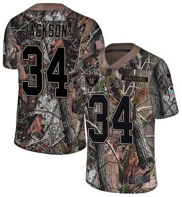 Nike Raiders #34 Bo Jackson Camo Men\'s Stitched NFL Limited Rush Realtree Jersey