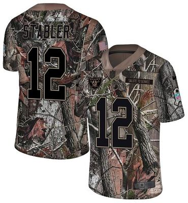 Nike Raiders #12 Kenny Stabler Camo Men's Stitched NFL Limited Rush Realtree Jersey