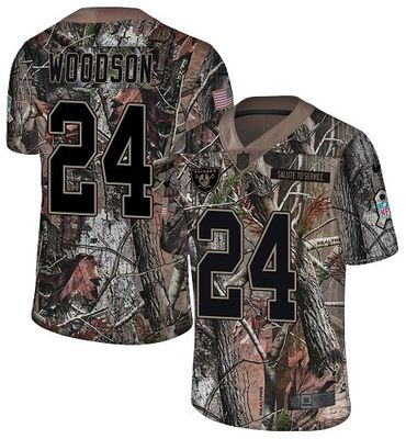 Nike Raiders #24 Charles Woodson Camo Men's Stitched NFL Limited Rush Realtree Jersey