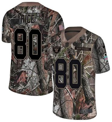 Nike Raiders #80 Jerry Rice Camo Men\'s Stitched NFL Limited Rush Realtree Jersey