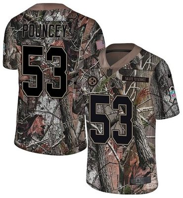 Nike Steelers #53 Maurkice Pouncey Camo Men's Stitched NFL Limited Rush Realtree Jersey