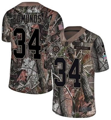Nike Steelers #34 Terrell Edmunds Camo Men's Stitched NFL Limited Rush Realtree Jersey