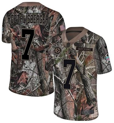 Nike Steelers #7 Ben Roethlisberger Camo Men's Stitched NFL Limited Rush Realtree Jersey