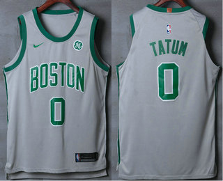 1910175ad74e7 Men's Boston Celtics #0 Jayson Tatum Grey 2017-2018 Nike Authentic General  Electric Stitched