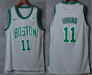31ba4637640 Men's Boston Celtics #11 Kyrie Irving Grey 2017-2018 Nike Authentic General  Electric Stitched NBA Jersey
