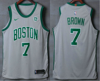 f5daf13e78b Men's Boston Celtics #7 Jaylen Brown Grey 2017-2018 Nike Authentic General  Electric Stitched NBA Jersey