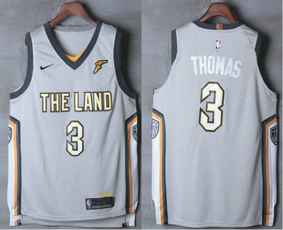 Mens Cleveland Cavaliers 3 Isaiah Thomas Gray The Land 2017 2018 Nike Authentic Stitched