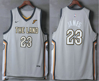 d62cce202b1 Men's Cleveland Cavaliers #23 LeBron James Gray The Land 2017-2018 Nike  Authentic Stitched