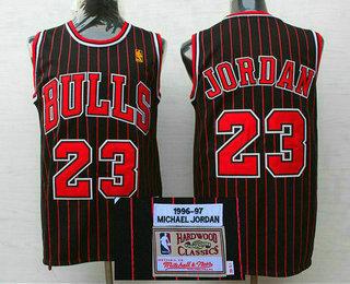 e366df4b6df Men s Chicago Bulls  23 Michael Jordan 1996-97 Black Pinstripe Hardwood  Classics Soul Swingman