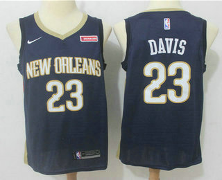 Men's New Orleans Pelicans #23 Anthony Davis New Navy Blue 2017-2018 Nike Swingman zatarains Stitched NBA Jersey