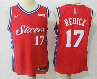huge selection of 02704 29ebc Men's Philadelphia 76ers #17 J.J. Redick Red 2017-2018 Nike ...