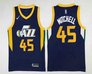4cd1b0b53 Men's Utah Jazz #45 Donovan Mitchell Navy Blue 2017-2018 Nike Swingman  Stitched NBA