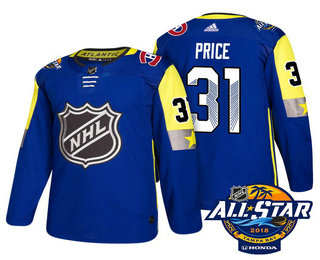Men's Montreal Canadiens #31 Carey Price Blue 2018 NHL All-Star Stitched Ice Hockey Jersey