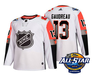 best sneakers bc36e a0c27 Men's Calgary Flames #13 Johnny Gaudreau White 2018 NHL All ...