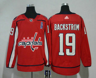d3e90c8b0 Men s Washington Capitals  19 Nicklas Backstrom Red With A Patch 2017-2018 Hockey  Stitched