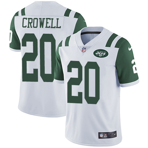 Nike New York Jets #20 Isaiah Crowell White Men\'s Stitched NFL Vapor Untouchable Limited Jersey