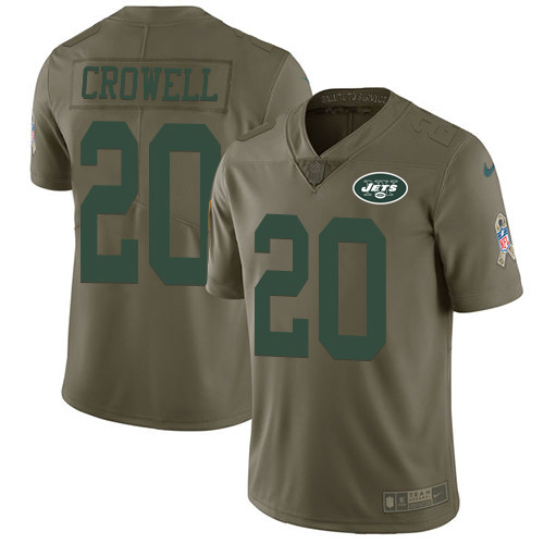 Nike New York Jets #20 Isaiah Crowell Olive Men's Stitched NFL Limited 2017 Salute to Service Jersey