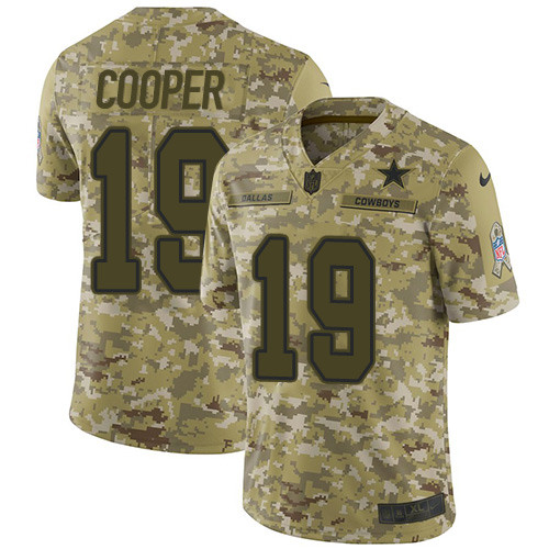 Nike Dallas Cowboys #19 Amari Cooper Camo Men's Stitched NFL Limited 2018 Salute To Service Jersey