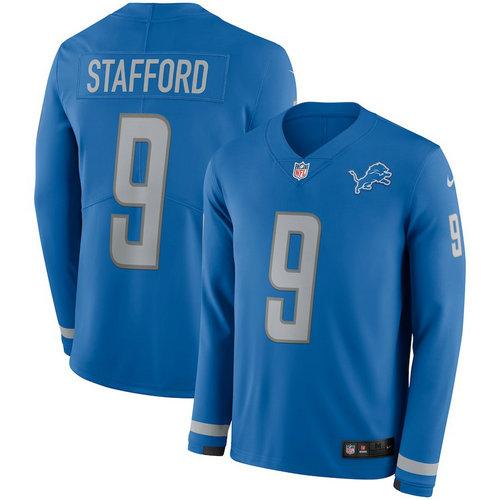 Men Nike Detroit Lions 9 Matthew Stafford blue Therma Long Sleeve Jersey
