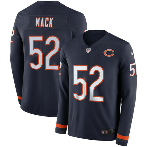 Men Nike chicago Bears 52 Khalil Mack blue Therma Long Sleeve Jersey