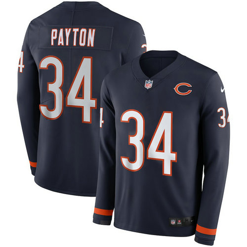 Men Nike Chicago Bears 34 Walter Payton blue Therma Long Sleeve Jersey