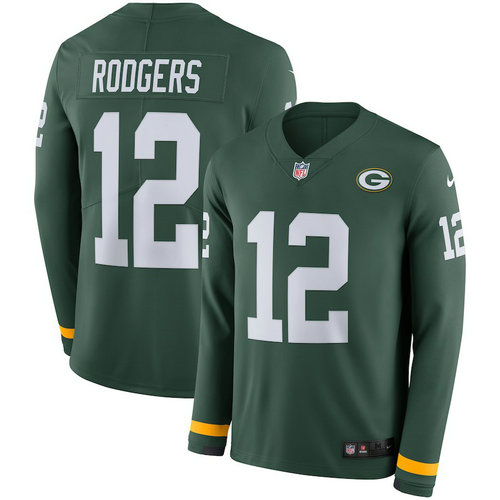 Men Nike Green Bay Packers 12 Aaron Rodgers Green Therma Long Sleeve Jersey