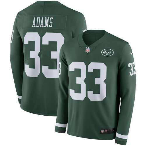 Men Nike New York Jets 33 Chris Ivory Green Therma Long Sleeve Jersey
