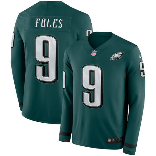 Men Nike Philadelphia Eagles 9 Nick Foles green Therma Long Sleeve Jersey