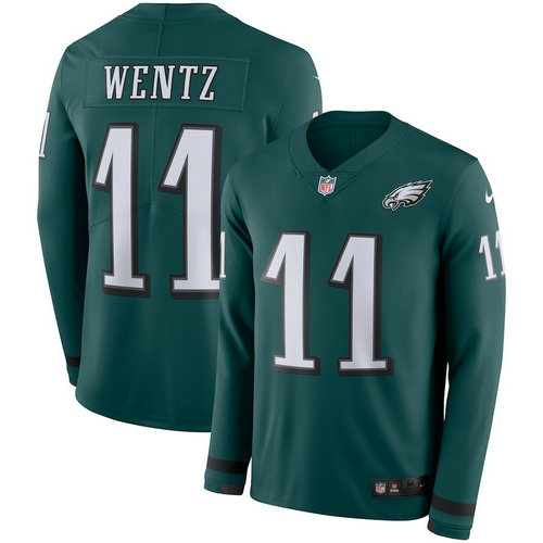 Men Nike Philadelphia Eagles 11 Carson Wentz green Therma Long Sleeve Jersey