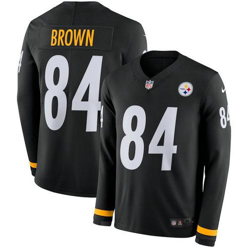 Men Nike Pittsburgh Steelers 84 Antonio Brown black Therma Long Sleeve Jersey