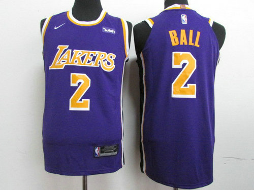 pretty nice 507ae cd8ea Lakers 2 Lonzo Ball Purple 2018-19 Nike Authentic Jersey on ...