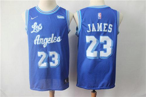 finest selection b2736 8af17 Nike Lakers 23 LeBron James Light Blue Throwback NBA ...